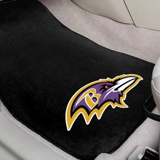 FanMats® - Black Carpet Mats with Baltimore Ravens Logo