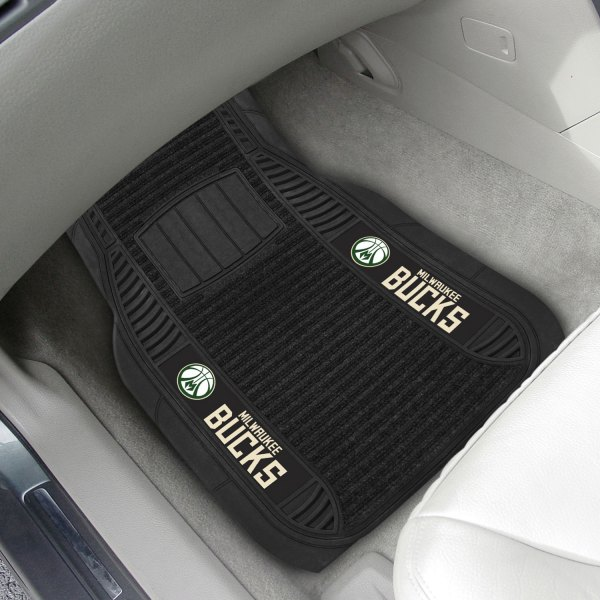 FanMats® - 1st Row Black Deluxe Vinyl Car Mats with Milwaukee Bucks Logo