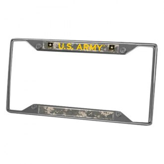 FanMats® - Military Chrome License Plate Frame with U.S. Army Logo