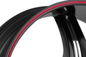 FIERO® - No.15 Satin Black with Red Stripe and Chrome Inserts B Style Close-Up