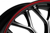 FIERO® - No.9 Gloss Black with Machined Face and Red Stripe Close-Up