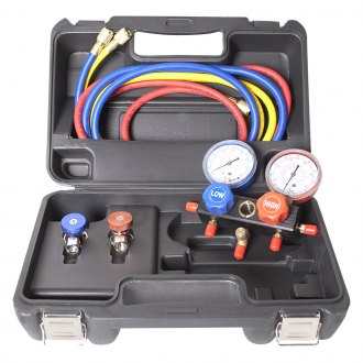 FJC® - Aluminum Block Manifold Gauge Set with Manual Couplers for R134a