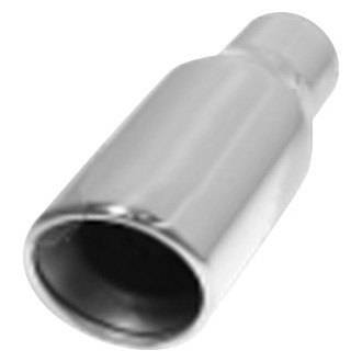 "Flo-Pro® - 304 SS Round Resonated Angle Cut Weld-On Double-Wall Polished Exhaust Tip (2.25"" Inlet, 3.5"" Outlet, 8"" Length)"