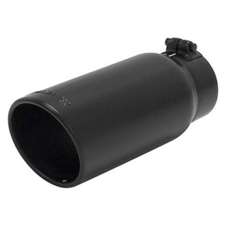 Flowmaster® - Stainless Steel Driver or Passenger Side Round Angle Cut Clamp-On Black Ceramic Coated Exhaust Tip with Embossed Logo