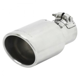 Flowmaster® - Stainless Steel Driver or Passenger Side Oval Angle Cut Clamp-On Double-Wall Polished Exhaust Tip with Embossed Logo