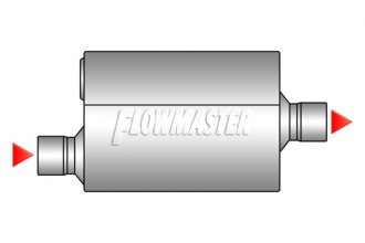 "Flowmaster® - 50 Series Delta Flow™ Aluminized Steel Muffler (Moderate Sound, 3"" Offset Inlet / 3"" Center Outlet)"