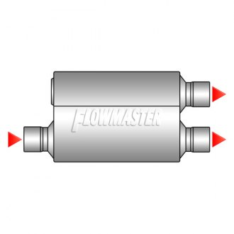 Image may not reflect your exact vehicle! Flowmaster® - Offset Inlet / Dual Outlet Muffler