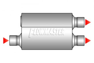 "Flowmaster® - 50 Series Delta Flow™ Aluminized Steel Muffler (Moderate Sound, 3"" Offset Inlet / 2.5"" Dual Outlet)"
