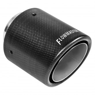 Flowmaster® - Carbon Fiber Driver or Passenger Side Round Rolled Edge Angle Cut Weld-On Double-Wall Satin Exhaust Tip