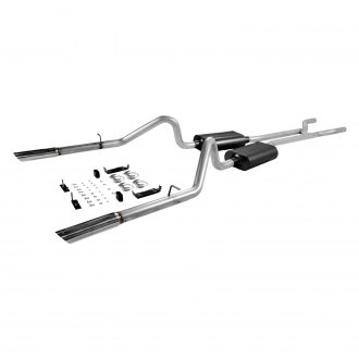 Flowmaster® - American Thunder™ Aluminized Steel Dual Header-Back Exhaust System with Split Rear Exit