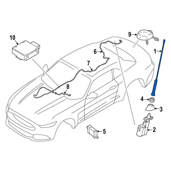 FORD OEM 2015 Mustang-Antenna Mast FR3Z18813A