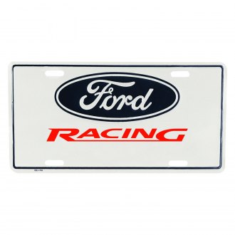 Ford Performance® - White License Plate with Ford Racing Logo