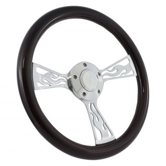 Forever Sharp® - Flame Wood Steering Wheel with Billet Horn