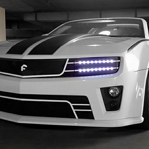 Image may not reflect your exact vehicle! Forgiato® - Di Falco Retractable Headlight LED Mesh Grille - LEDs on