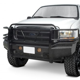 Frontier Truck Gear® - Full Width Black Front HD Bumper with Full Grille Guard
