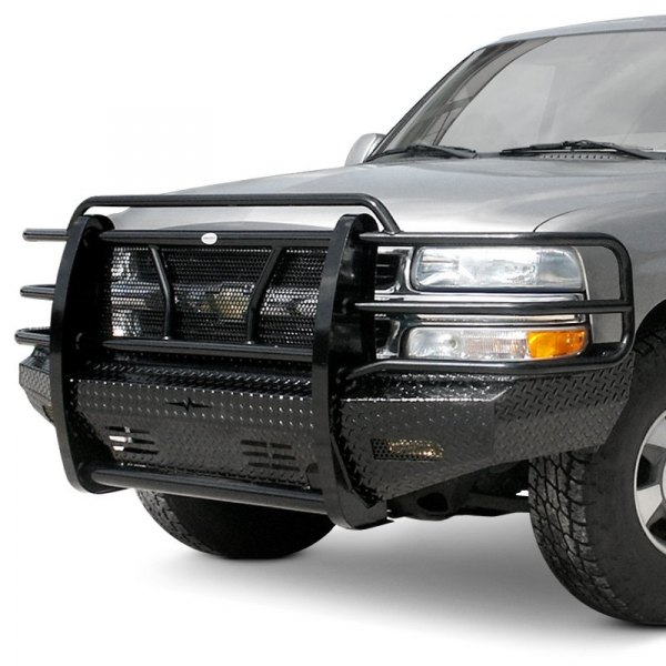 frontier truck gear chevy silverado 1999 full width black front hd bumper with full grille guard. Black Bedroom Furniture Sets. Home Design Ideas