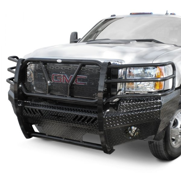 frontier truck gear gmc sierra 2014 full width front hd bumper with full grille guard. Black Bedroom Furniture Sets. Home Design Ideas