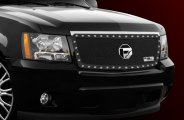 FUEL® - 1-Pc Studded Black Mesh Grille - W/O BODY CLADDING