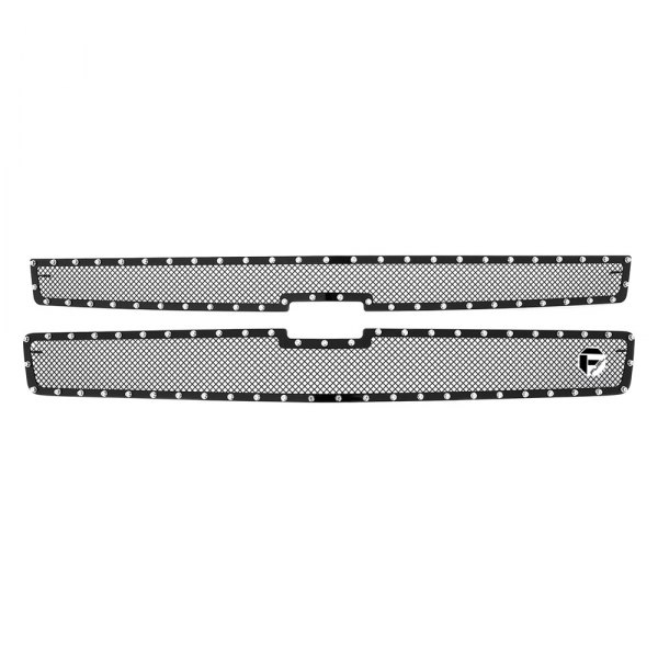 Fuel Grilles® - 2-Pc Studded Black Mesh Main Grille