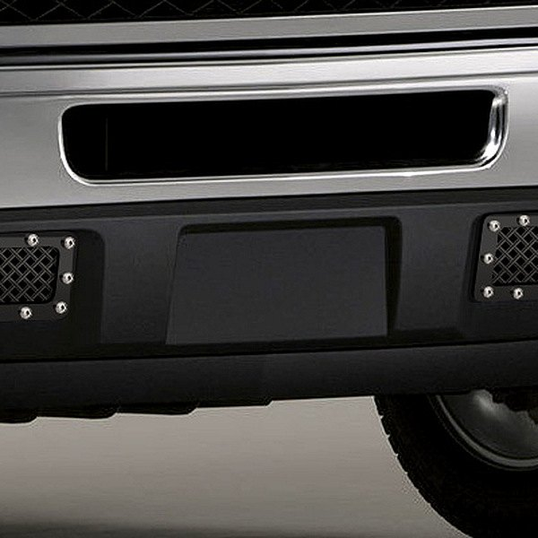 Fuel Grilles® - 2-Pc Studded Black Mesh Tow Hook Bumper Grille