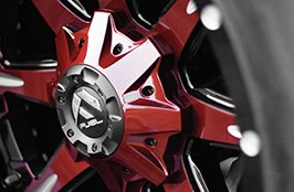 Fuel Nutz 2PC Black with Red Face and Milled Spokes on Ford F-250