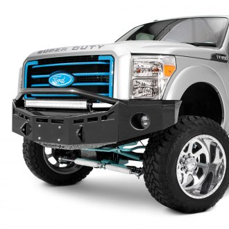 Fusion Bumpers® - Full Width Black Front HD Bumper with Hoop