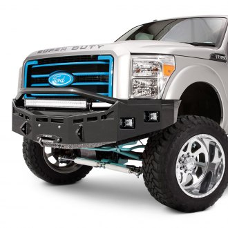 Fusion Bumpers® - Full Width Black Front Winch HD Bumper with Hoop