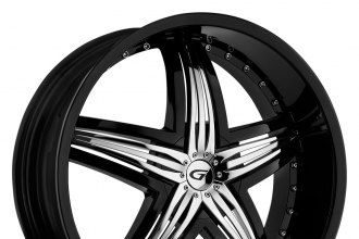 "GIANNA® - BLITZ Black with Chrome Inserts (22"" x 9.5"", +13 to +40 Offsets, 5x100-150 Bolt Patterns, 73.1-110mm Hubs)"