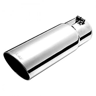 Gibson® - Polished T304 Stainless Steel Round Angle Cut Double Wall Exhaust Tip
