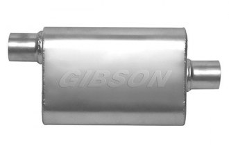 "Gibson® - CFT Superflow™ Stainless Steel Oval Muffler (2.00"" Offset Inlet / 2.00"" Center Outlet, 19"" Overall Length)"