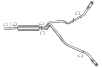 Gibson® 9118 - Extreme Dual™ Aluminized Steel Cat-Back Exhaust System - Behind Each Rear Tire Exit (Aggressive Sound)
