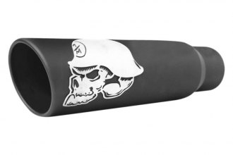 Gibson® - Metal Mulisha™ Stainless Steel Round Rolled Edge Angle Cut Single-Wall Black Ceramic Exhaust Tip