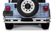 "Image may not reflect your exact vehicle! Go Rhino® - 3"" Jeep Polished Stainless Steel Rear Bumper"