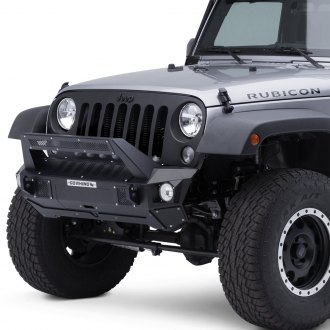 Go Rhino® - BRJ40 Stubby Black Front Winch Modular Bumper with End Caps and Light Mount Bar