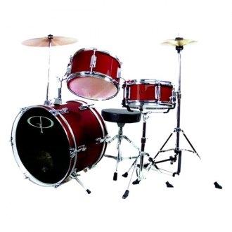 GP Percussion® - Deluxe Jr Drum Set (Metallic Wine Red)
