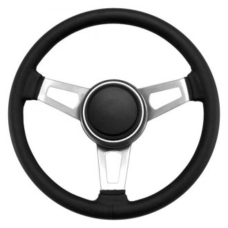 Grant® - 3-Spoke Matte Nickel CRS Steel Design Classic Nostalgia Series Steering Wheel with Black Leather Baseball Stitching Grip
