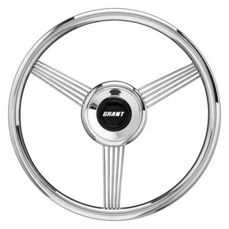 Grant® - 3-Spoke Stainless Steel Design Banjo Style Steering Wheel with Stainless Steel Grip