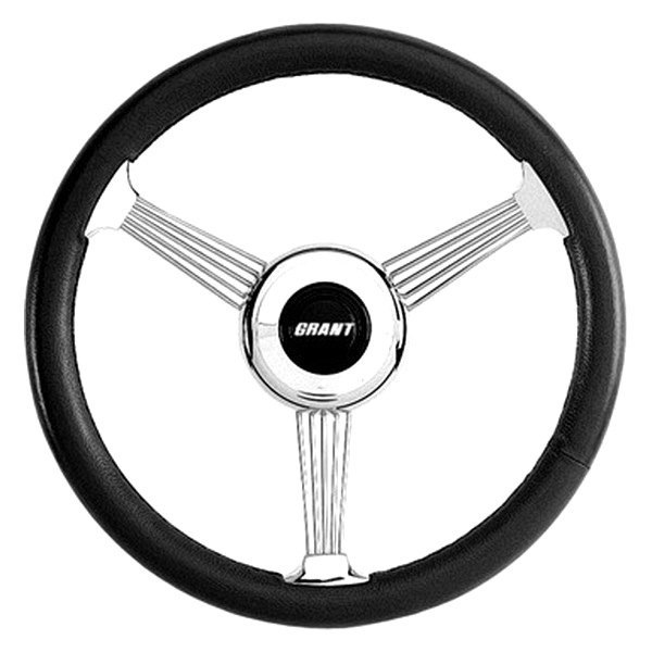 Grant® - 3-Spoke Stainless Steel Design Banjo Style Steering Wheel with Black Leather Grip