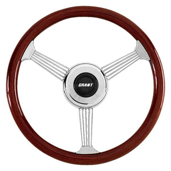Grant® - 3-Spoke Stainless Steel Design Banjo Style Steering Wheel with Mahogany Wood Grip