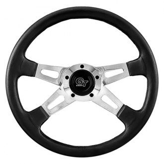 Grant® - 4-Spoke Polished Aluminum Dual Plane Design Elite GT Steering Wheel with Black Hand Stitched Leather Grained Vinyl Grip