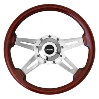 Grant® - 4-Spoke Polished Aluminum Design Le Mans Series Steering Wheel with Mahogany Wood Grip