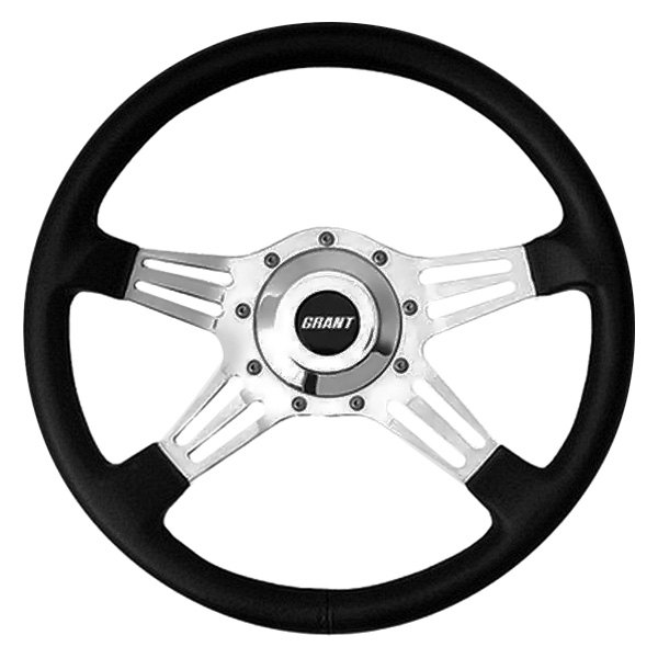 Grant® - 4-Spoke Polished Aluminum Design Le Mans Series Steering Wheel with Black Hand Stitched Leather Grained Vinyl Grip
