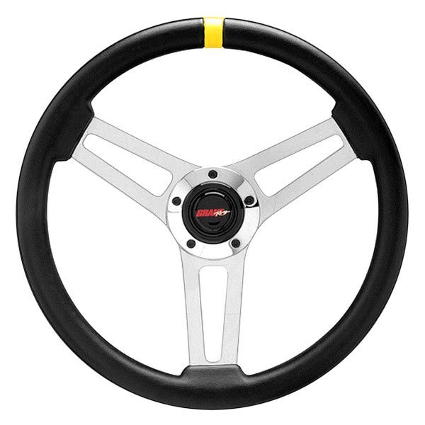 Grant® - 3-Spoke Chrome Design Classic 5 Series Steering Wheel with Black Hand-stitched Leather Grained Vinyl Grip