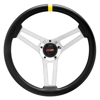 Grant® - 3-Spoke Chrome Classic 5 Series Steering Wheel with Black Hand-stitched Leather Grained Vinyl Grip