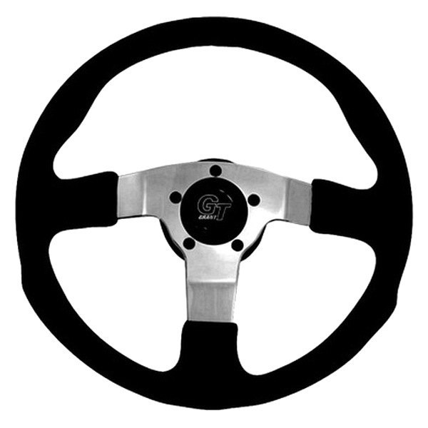 Grant® - 3-Spoke Polished Aluminum Design GT Rally Series Steering Wheel with Black Molded Polyurethane Grip and Leather Grain