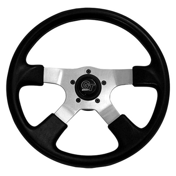 Grant® - 4-Spoke Polished Aluminum Design GT Rally Series Steering Wheel with Black Molded Polyurethane Grip and Leather Grain