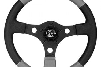 Grant® - 3-Spoke Black Anodized Aluminum Design Formula GT Series Steering Wheel with Gray/Black Hand-stitched Leather Grained Vinyl Grip