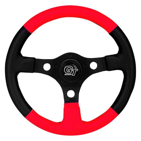 Grant® - 3-Spoke Black Anodized Aluminum Design Formula GT Series Steering Wheel with Red/Black Hand-stitched Leather Grained Vinyl Grip