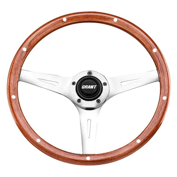 Grant® - 3-Spoke Polished Aluminum Design Collectors Edition Steering Wheel with Walnut Wood and Rivets Grip