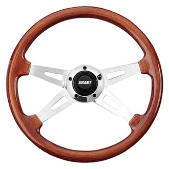 Grant® - 4-Spoke Polished Aluminum Design Collectors Edition Steering Wheel with Mahogany Wood Grip